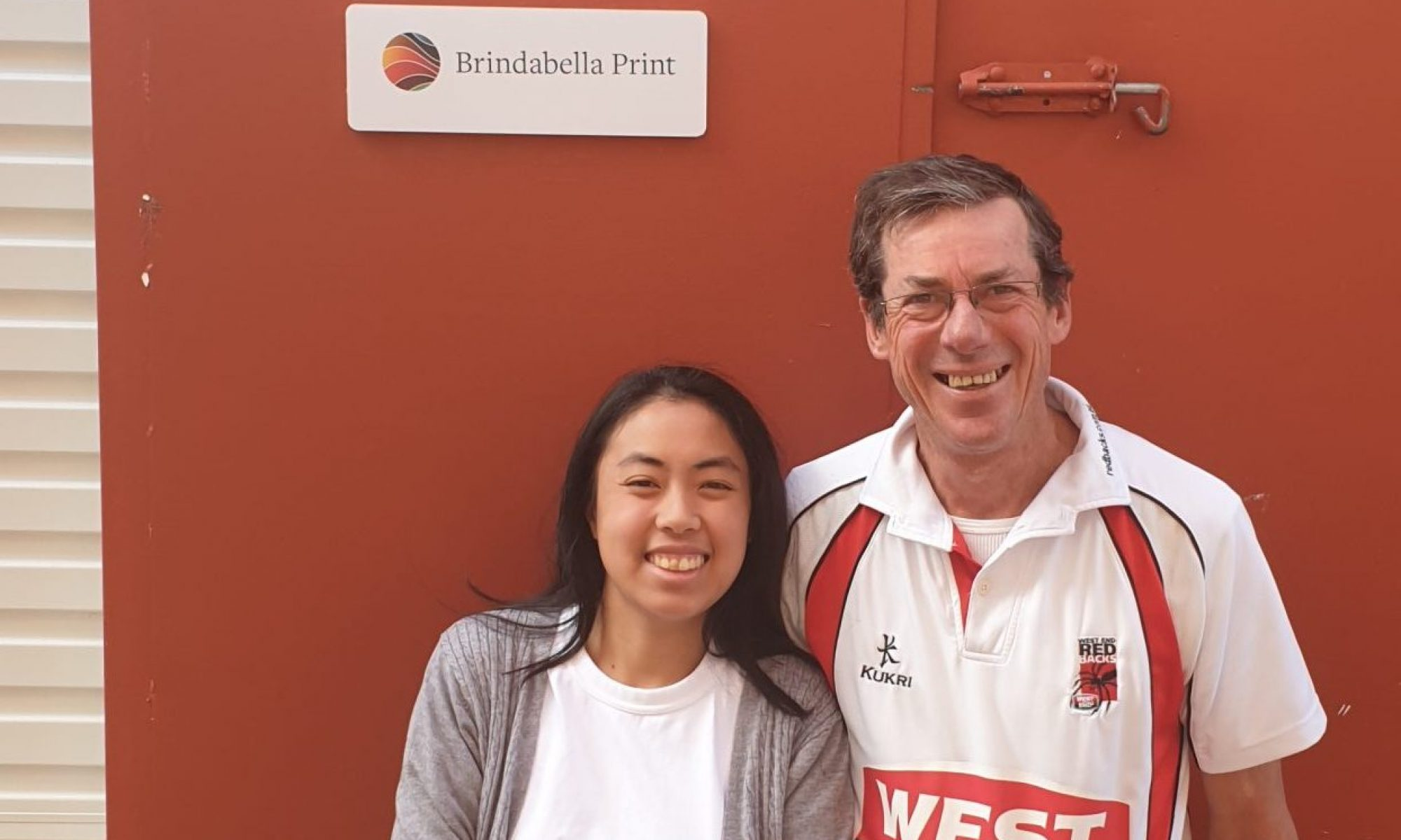 Members of the Brindabella Print Team - Kelsy is on the left while Sean is on the right